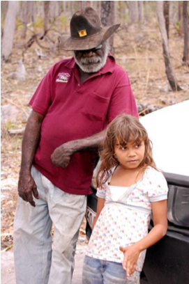 Northern Kaanju Traditional Owners Robert Nelson with puula'tu (grand daughter) Petra Claudie