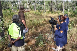Chuulangun Ranger Fellaine Crossley documenting flora surveys with the camcorder