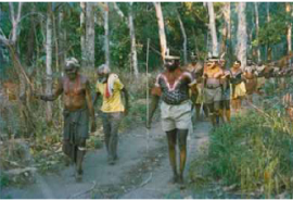 Key northern Kaanju ancestor George Moreton Jnr (left) leading 'Bora' at Lockhart River in the 1970s
